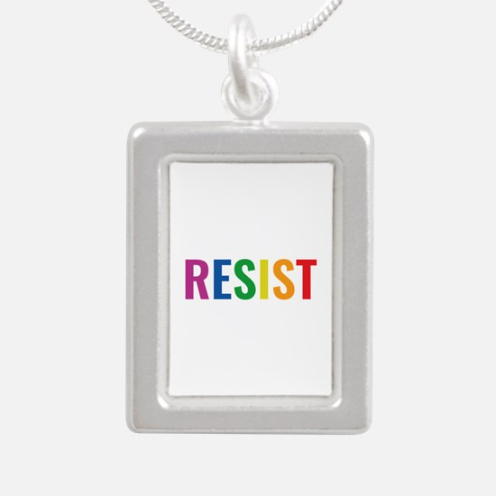 Glbt Resist Silver Portrait Necklace