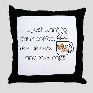 COFFEE, CATS, NAP Throw Pillow