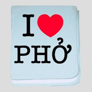 I Love (Heart) Pho baby blanket