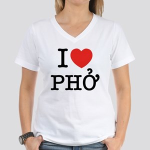 I Love (Heart) Pho Women's V-Neck T-Shirt