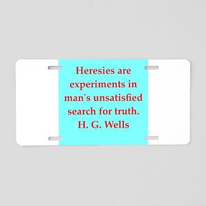 H. G. Wells quotes Aluminum License Plate