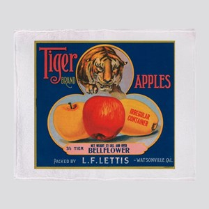 Tiger Fruit Crate Label Throw Blanket