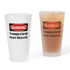 Beer Warning Drinking Glass