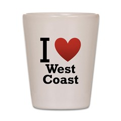 I Love West Coast Shot Glass