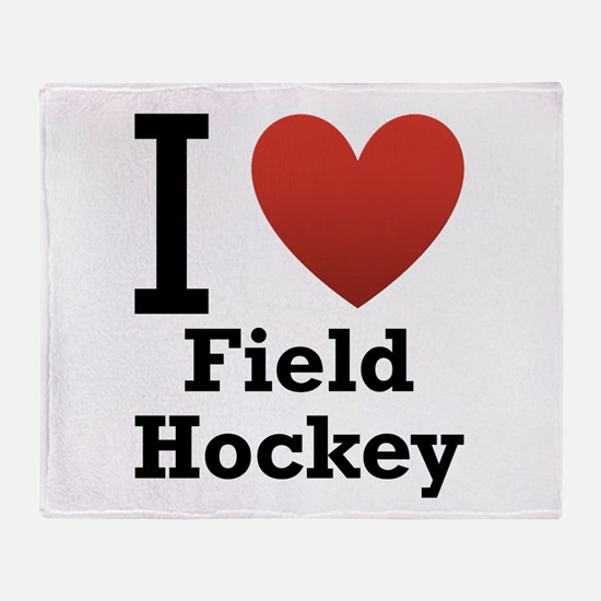 I Love Field Hockey Throw Blanket