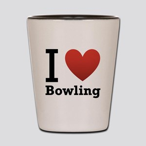 I Love Bowling Shot Glass