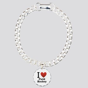 I Love Field Hockey Charm Bracelet, One Charm