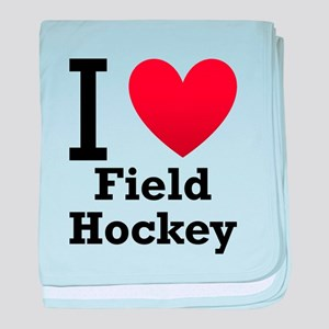 I Love Field Hockey baby blanket