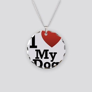 I Love My Dog Necklace Circle Charm