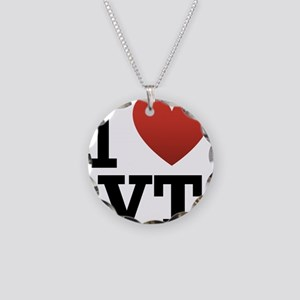 I Love Vermont Necklace Circle Charm
