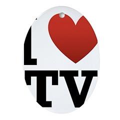 I Love TV Ornament (Oval)