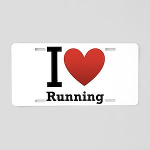 I Love Running Aluminum License Plate