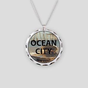 I <3 Ocean City Necklace Circle Charm