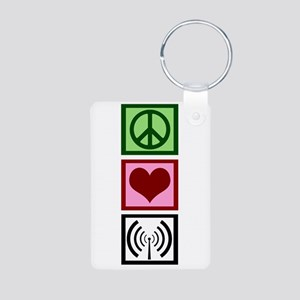 Peace Love Radio Aluminum Photo Keychain
