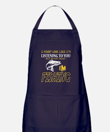 I'm Fishing T Shirt, Listening To Apron (dark)
