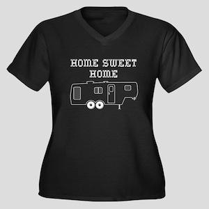 Home Sweet H Women's Plus Size V-Neck Dark T-Shirt