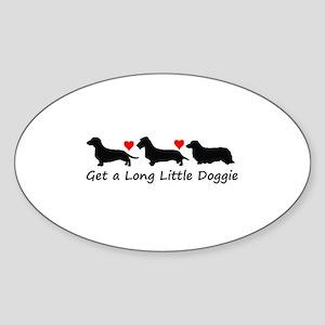 Get a Long Little Doggie Sticker (Oval)