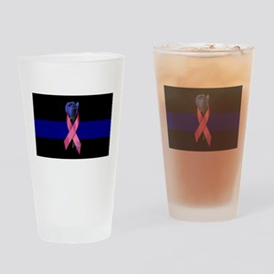 Blue Line Rose Drinking Glass