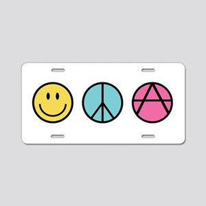 Happiness Peace Anarchy Aluminum License Plate