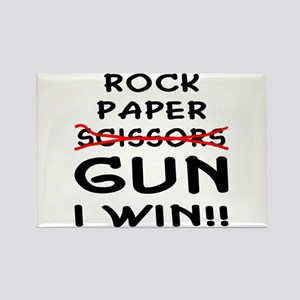 Rock Paper Scissors Gun I Win Rectangle Magnet
