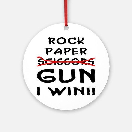 Rock Paper Scissors Gun I Win Ornament (Round)