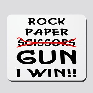 Rock Paper Scissors Gun I Win Mousepad