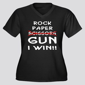 Rock Paper Scissors Gun I Win Women's Plus Size V-