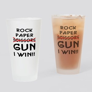 Rock Paper Scissors Gun I Win Drinking Glass