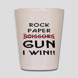 Rock Paper Scissors Gun I Win Shot Glass