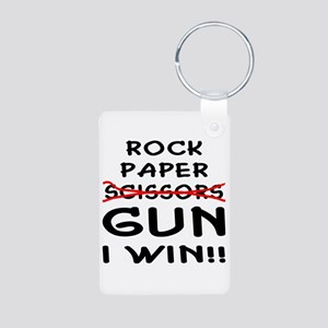 Rock Paper Scissors Gun I Win Aluminum Photo Keych