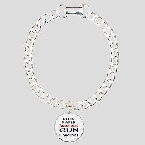 Rock Paper Scissors Gun I Win Charm Bracelet, One
