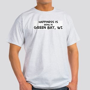 Happiness is Green Bay Ash Grey T-Shirt