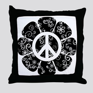 Peace Symbol Flower Throw Pillow