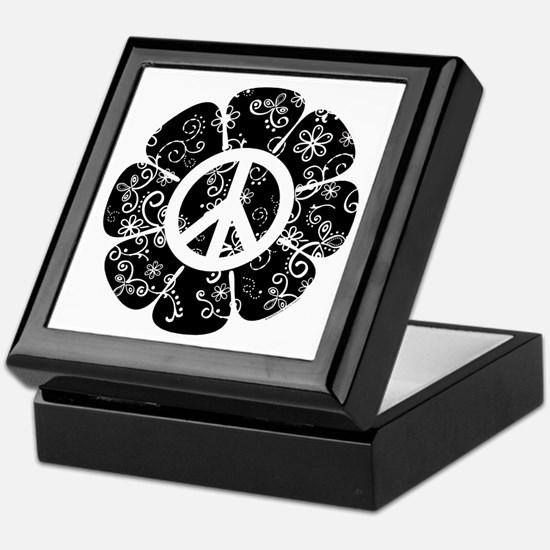Peace Symbol Flower Keepsake Box