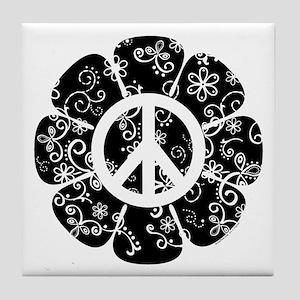 Peace Symbol Flower Tile Coaster