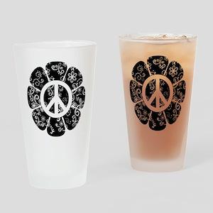 Peace Symbol Flower Drinking Glass