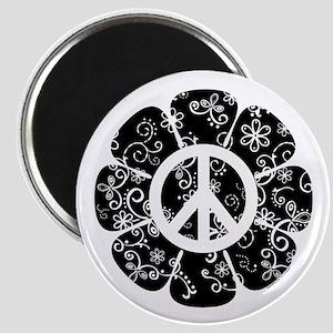 Peace Symbol Flower Magnet