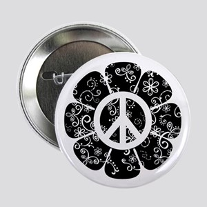 "Peace Symbol Flower 2.25"" Button"