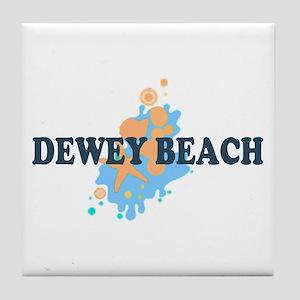 Dewey Beach DE - Seashells Design Tile Coaster