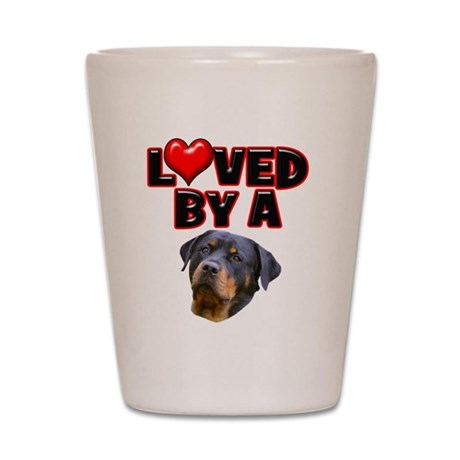 Loved by a Rottweiler 3 Shot Glass