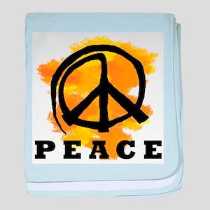 Peace Orange baby blanket