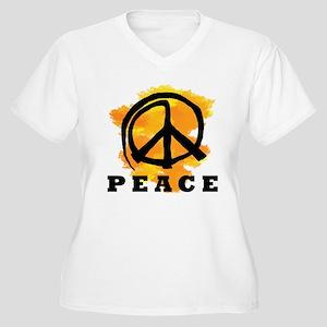 Peace Orange Women's Plus Size V-Neck T-Shirt