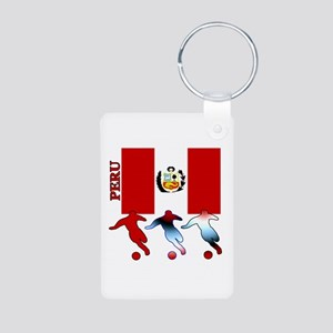Peru Soccer Aluminum Photo Keychain
