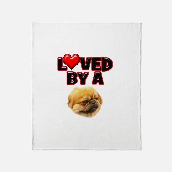 Loved by a Pekingnese Throw Blanket