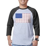 American Flag made up of Snowmob Mens Baseball Tee