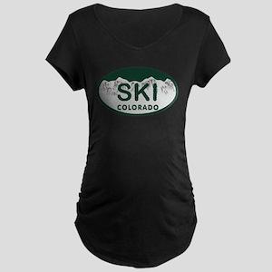 Ski Colo License Plate Maternity Dark T-Shirt