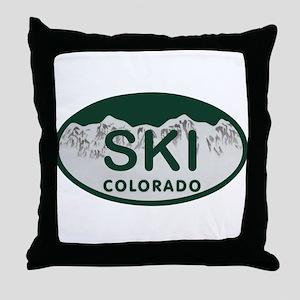 Ski Colo License Plate Throw Pillow