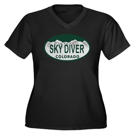 Sky Diver Colo License Plate Women's Plus Size V-N