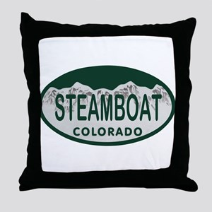 Steamboat Colo License Plate Throw Pillow
