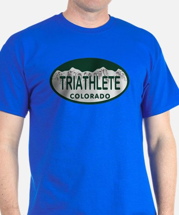 Triathlete Oval Colo License Plate T-Shirt